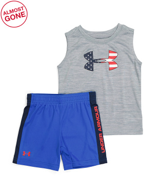Toddler And Little Boy Americana Icon Twist Tank And Shorts Set