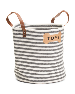 Sienna Toy Basket With Leather Handles