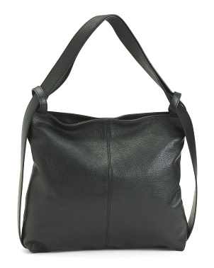 Made In Italy Leather Hobo With Strap Detailing