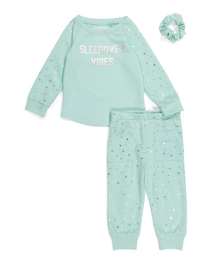 Toddler Girls Jogger Sleep Set With Scrunchie