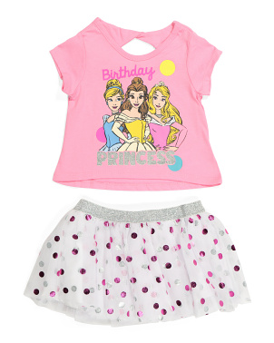Toddler Girls 2pc Princess Birthday Skirt Set