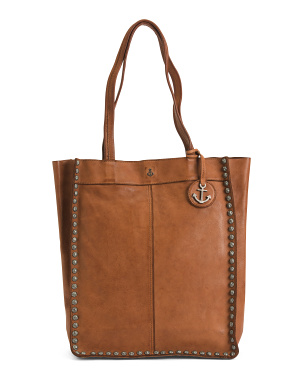 Leather North South Tote With Studs