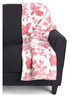 Beretta Bird Printed Loft Fleece Throw