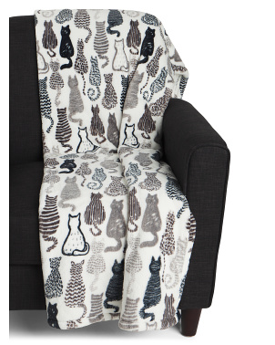 Casper Cat Printed Loft Fleece Throw