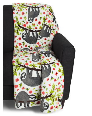 Seth Sloth Printed Loft Fleece Throw