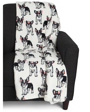 Vanessa French Bull Dog Loft Fleece Throw