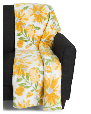 Chandra Floral Printed Loft Fleece Throw