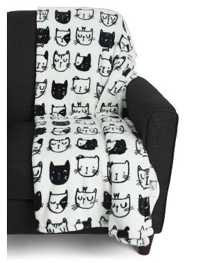 Colton Cat Printed Loft Fleece Throw