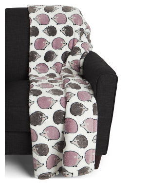 Hedy Hedgehog Printed Loft Fleece Throw