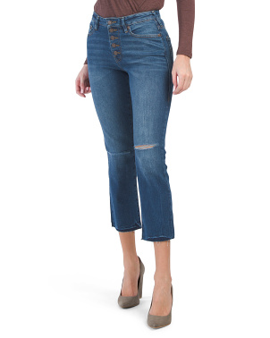 Star Exposed Fly Cut Hem Jeans
