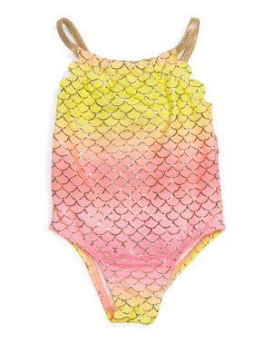 Toddler Girls 1pc Mermaid Scale Swimsuit