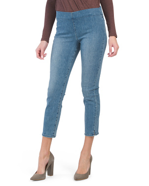 Pull On Skinny Jeans With Side Slits