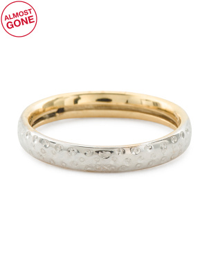 Made In Italy 14kt Gold Two Tone 3mm Diamond Cut Band