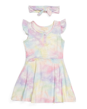 Big Girls Flutter Sleeve Tie Dye Dress With Headband