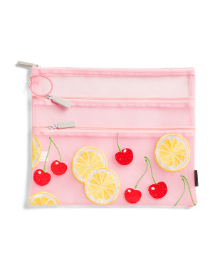 Embroidered Fruit 3-zip Large Mesh Organizer