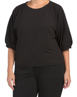 Plus Short Puff Sleeve Lounge Top