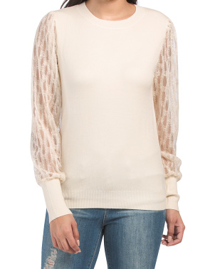 Juniors Crew Neck Sweater With Mesh Sleeves