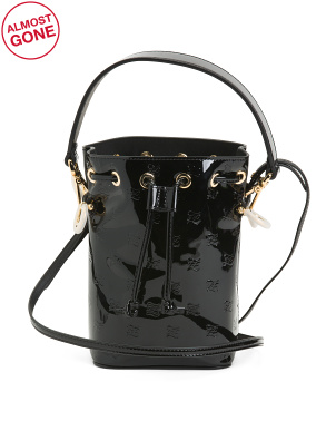 Made In Italy Patent Leather Mon Tresor Drawstring Hobo