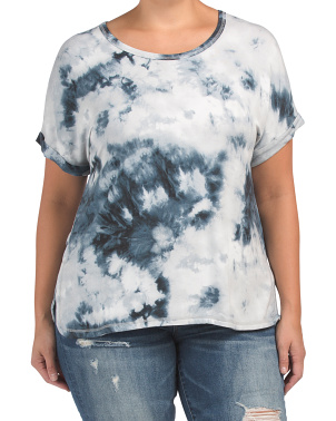 Plus Tie Dye French Terry Roll Sleeve Top