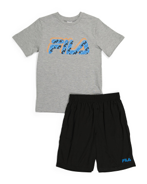 Little Boys Print Tee And Short Set