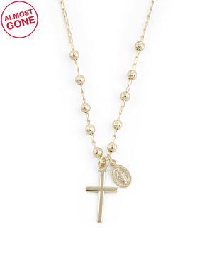14k Gold Plated Sterling Silver Cross Virgin Mary Necklace