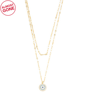 14k Gold Plated Sterling Silver Cz Evil Eye Layer Necklace