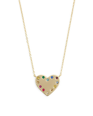 14k Gold Plated Sterling Silver Cz Heart Necklace