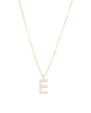 14k Gold Plated Sterling Silver Cz Initial Necklace