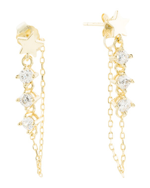14k Gold Plated Sterling Silver Cz Star Chain Earrings