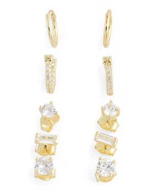 14k Gold Plated Sterling Silver Cz Stud Huggie Earring Set