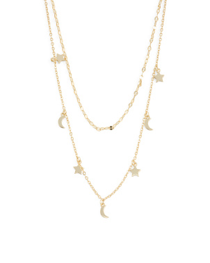 14k Gold Plated Sterling Silver Layered Celestial Necklace