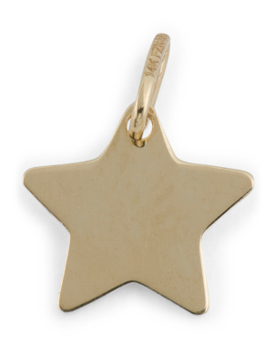 14k Gold Engravable Star Charm