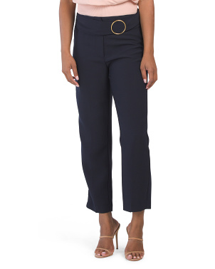 Belted Stretch Ankle Pants