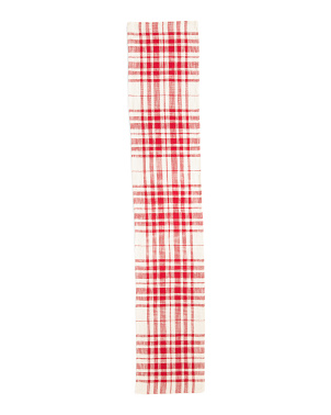 16x80 Natural Pax Plaid Cotton Runner