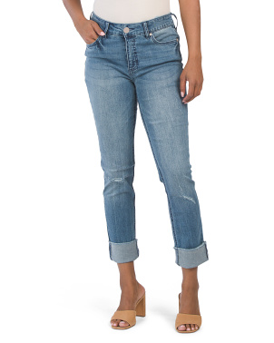 High Rise Slim Straight Cuff Jeans
