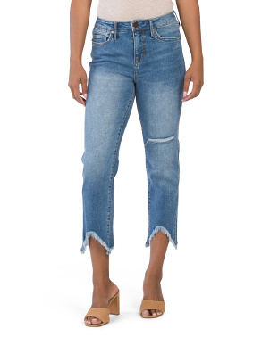 High Rise Straight Leg Frayed Jeans