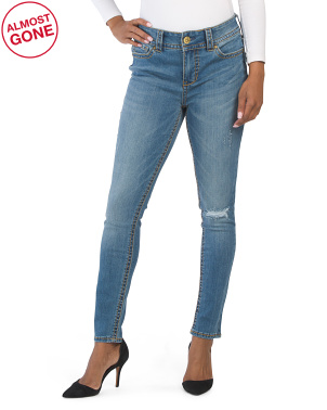 Thick Stitch Skinny Jeans With Destruction