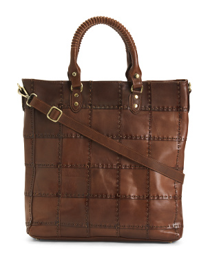 Made In Italy Leather Patch Stitch Tote With Braided Handles