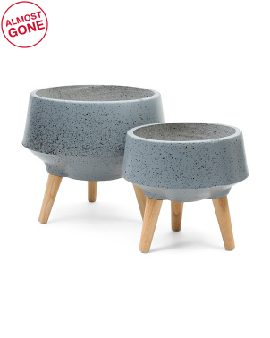 Set Of 2 Planters With Mango Wood Legs