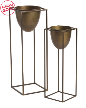 Set Of 2 Metal Cone Planter On Detachable Stand Set
