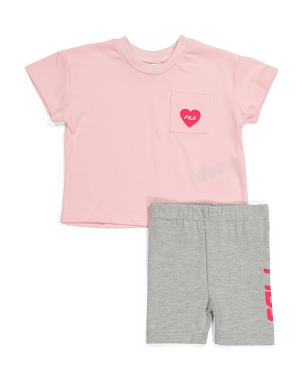 Toddler Girls 2pc Heart Bike Short Set