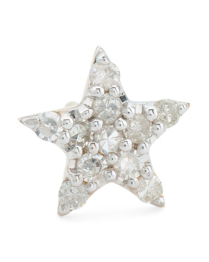 14k Gold And Diamond Star Single Stud Earring