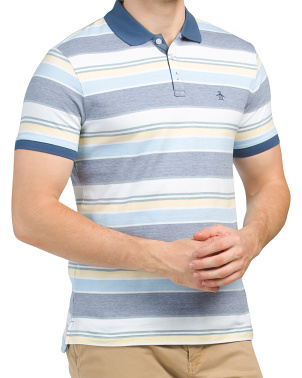 Birdseye Stripe Knit Polo