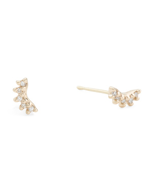 14kt Gold Diamond Curved Stud Earrings