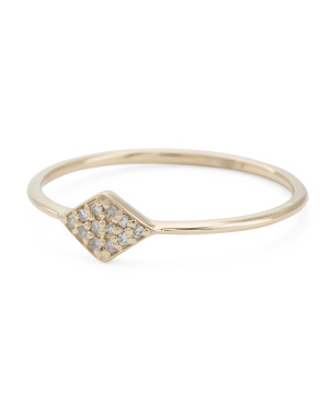 14kt Gold Marquee Shaped Diamond Pave Ring