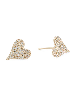 14kt Gold Pave Diamond Elongated Heart Earrings