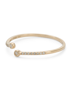14kt Gold Pave Bypass Bezel Ring