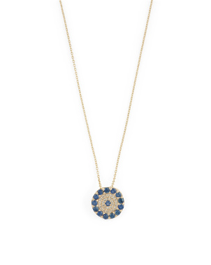 14kt Gold Diamond And Sapphire Evil Eye Necklace