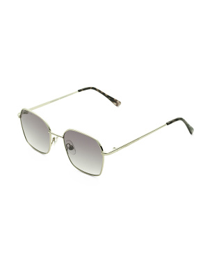 Metal Square Sunglasses With Smoke To Clear Gradient Lens