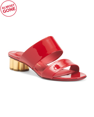 Made In Italy Wide Double Band Patent Leather Slide Sandals